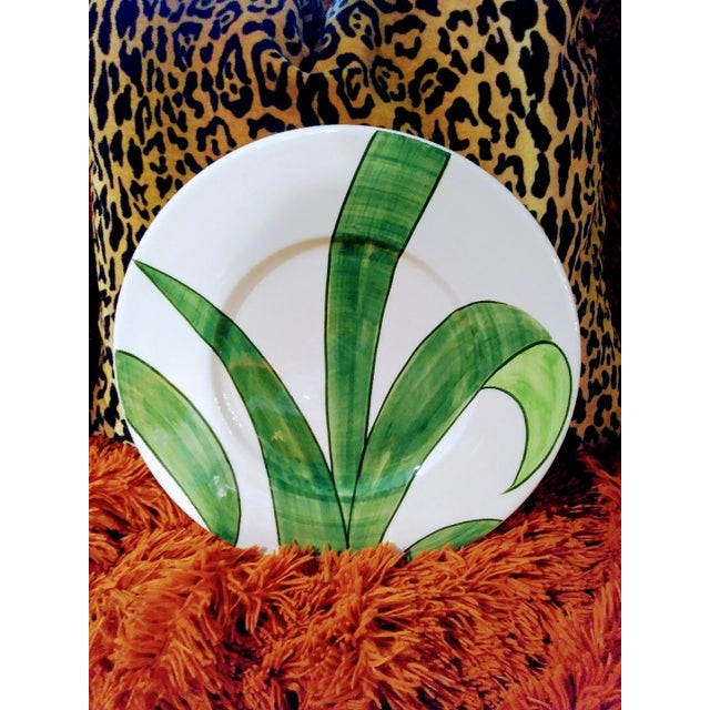 Set of 3 Large Italian Vietri Hand Painted Tropical Decorative Leaf, Fern Palm Wall Plates For Sale In West Palm - Image 6 of 7
