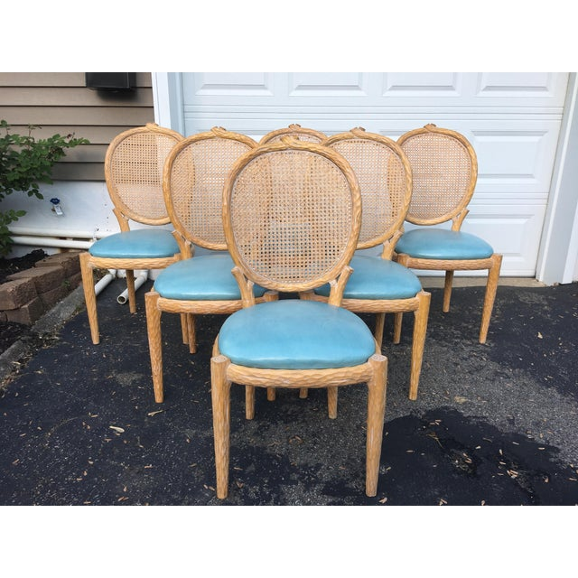 1970s Vintage Faux-Bois and Cane Dining Chairs- Set of 6 For Sale - Image 11 of 11