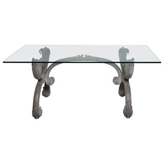 Zinc Base Glass Top Solarium Dining Table for Indoors or Outdoor Use For Sale