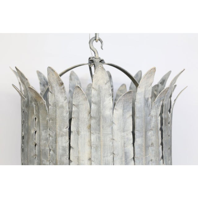"""Glass Hand-Crafted Iron """"Fairfield"""" Crown Light in Silver For Sale - Image 7 of 9"""