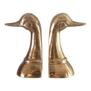 Brass Duck Bookends - A Pair For Sale