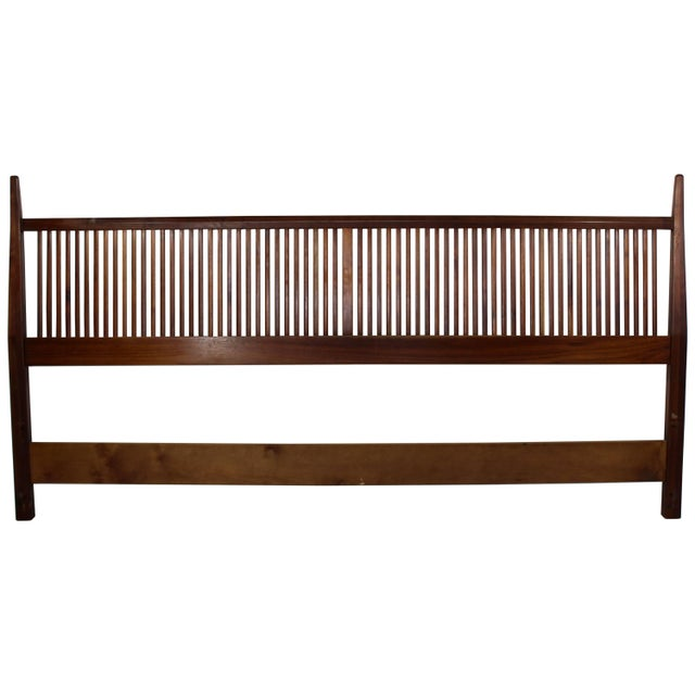Brown Mid-Century Modern George Nakashima for Widdicomb Slatted King Headboard, 1950s For Sale - Image 8 of 8