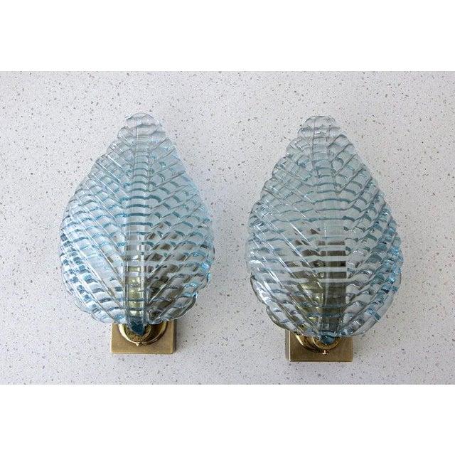 Italian 1950s Barovier Murano Aqua Blue Leaf Glass Wall Sconces - a Pair For Sale - Image 3 of 12