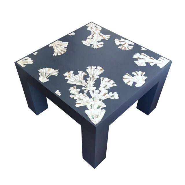 Modern Blue Coffee Table With Mother of Pearl Inlay For Sale