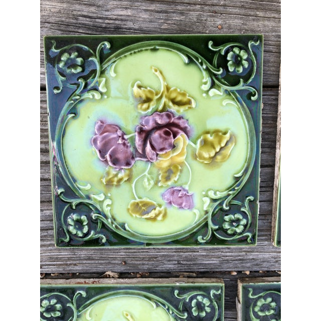 Mintons Art Pottery Studio Antique English Art Nouveau/Victorian Era Raised Relief Ceramic Tiles Floral Pattern - Set of 6 For Sale - Image 4 of 13