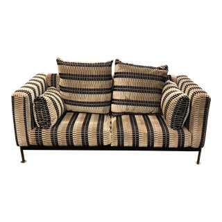 Mid 20th-Century Robert Haussmann Stendig Atlas Loveseat in Romo Multi Pile Velvet Fabric For Sale