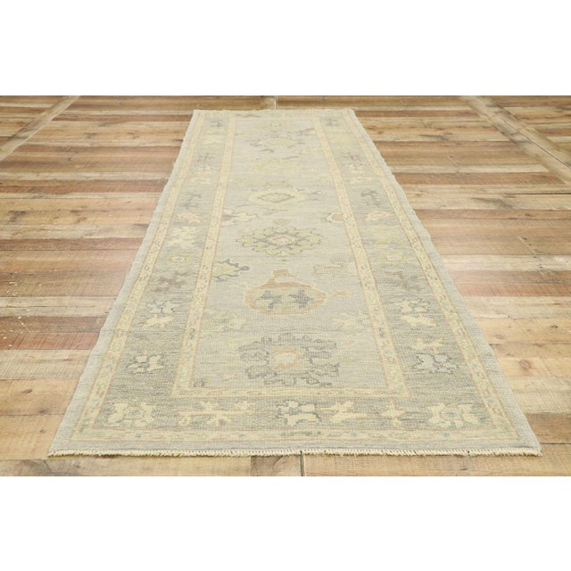 Textile Contemporary Turkish Oushak Runner With Transitional Style - 03'00 X 09'11 For Sale - Image 7 of 9