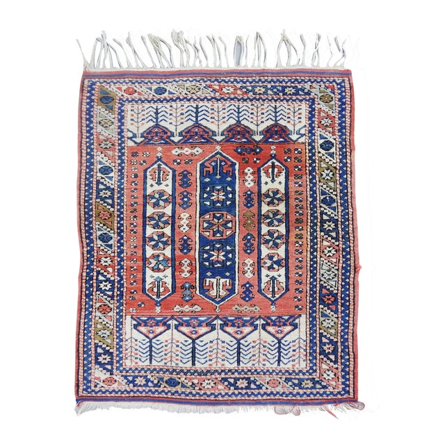 """Vintage Handwoven Peach & Blue Rug - 4'10"""" x 3'2"""" - Image 7 of 7"""