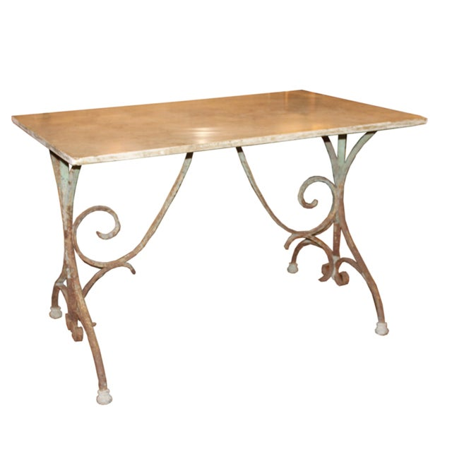 Metal French Iron Bistro Table with Original Marble Top For Sale - Image 7 of 7