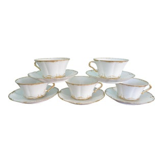 Feathered Gold French Haviland Cups & Saucers - Set of 5 For Sale
