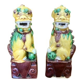 1950s Asian Polychrome Foo Dogs - a Pair For Sale
