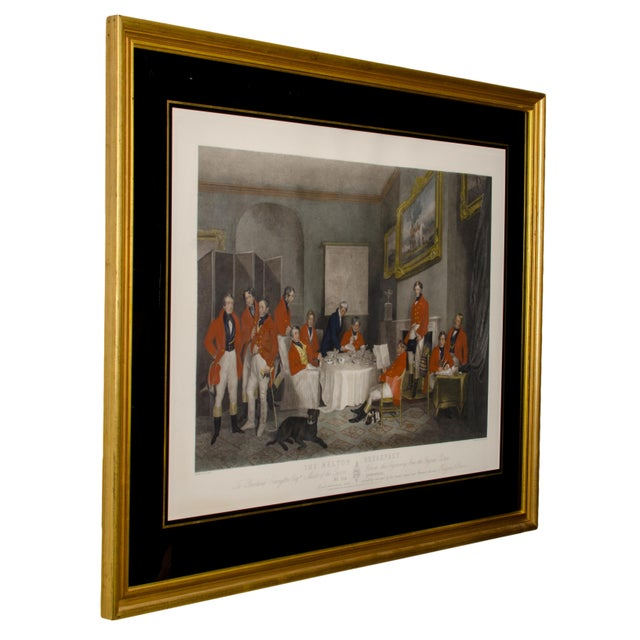 "English Traditional 1839 ""The Melton Breakfast"" Fox Hunt Engraving Print For Sale - Image 3 of 6"