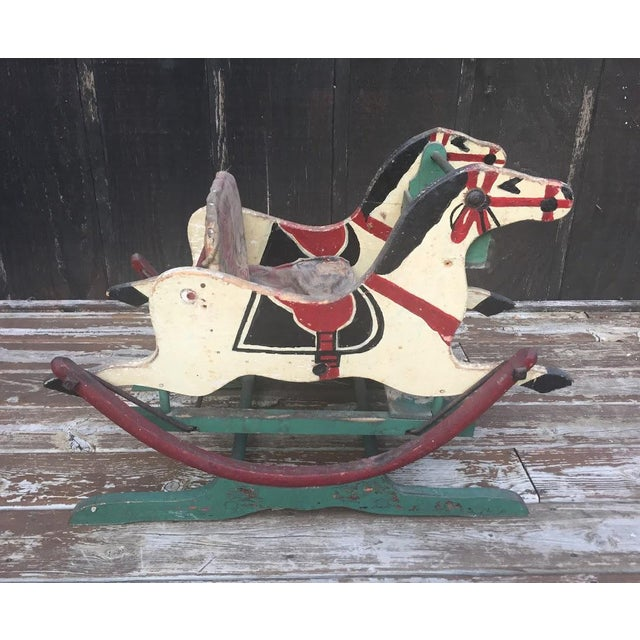 Fabulous antique, Victorian double rocking horse circa late 1800s. This stunning, hand-painted double rocking horse is in...