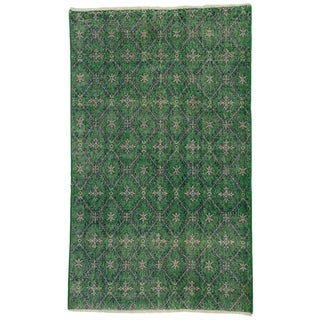 20th Century Turkish Zeki Muren Green Distressed Rug For Sale