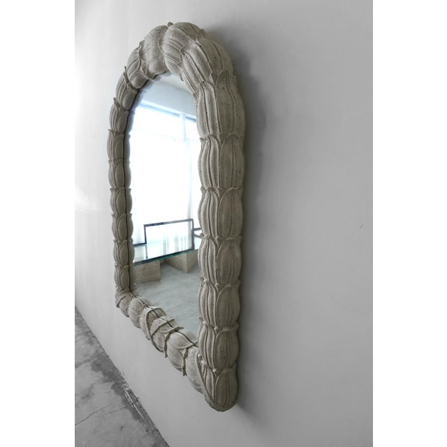 Boho Chic Huge Molded Concrete Sand Stone Wall Mirror For Sale - Image 3 of 6