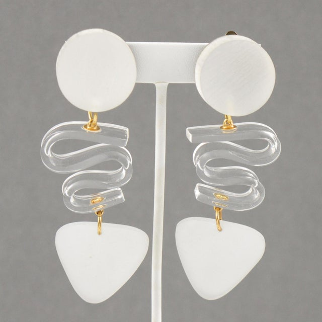White Harriet Bauknight for Kaso Lucite Clip on Earrings Dangle Frosted White For Sale - Image 8 of 8