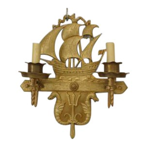 Pair of American Victorian style (2nd qtr 20th Cent) bronze 2 arm wall sconces with nautical motifs of ship with sails above 2 sea horses and a triden