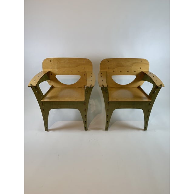 1990s Vintage David Kawecki Puzzle Chairs- A Pair For Sale In San Francisco - Image 6 of 6