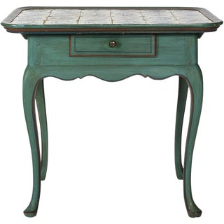 Blue-Painted Tile-Top Table For Sale