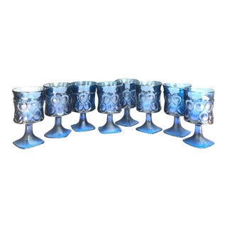 Blue Glass Footed Goblets - Set of 8 For Sale