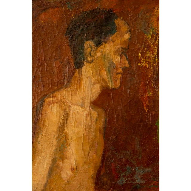 Antique 'nude' oil painting with incredibly beautiful signs of age and patina. Recently re-stretched and ready to be hung...