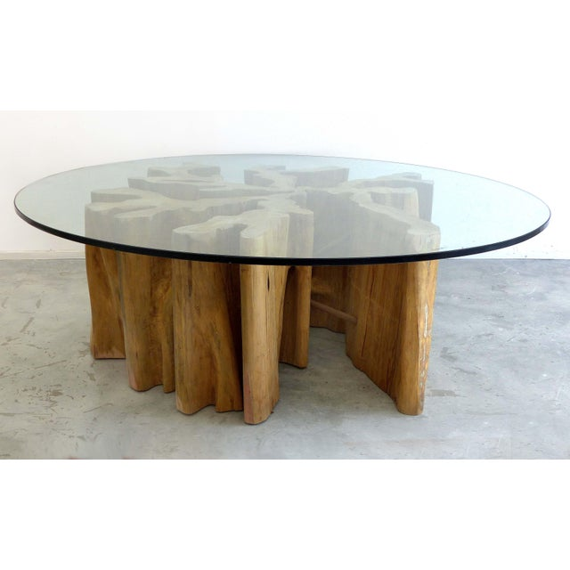 Offered is an Organic Modern guaranta wood coffee table base from Brazilian artist Valeria Totti. Totti incorporates...
