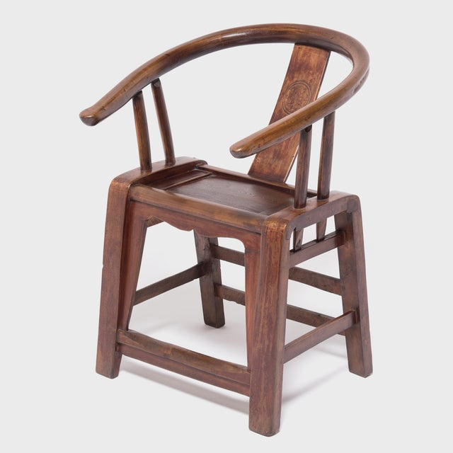 Asian 19th Century Provincial Chinese Elm Roundback Chair For Sale - Image 3 of 6