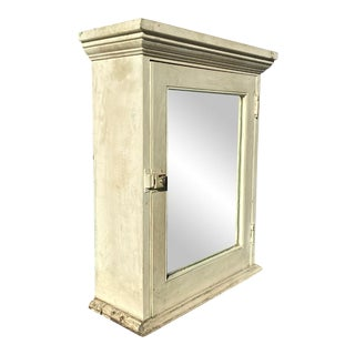 Antique Farmhouse White Pine Hanging Mirrored Apothecary Medicine Cabinet For Sale