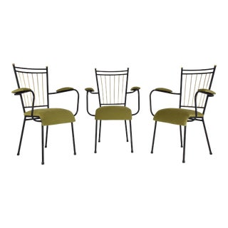 French Mid-Century Steel Armchairs - Set of 3 For Sale