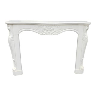 Very Nice Carved Wood & Painted White Fireplace Mantel Piece For Sale