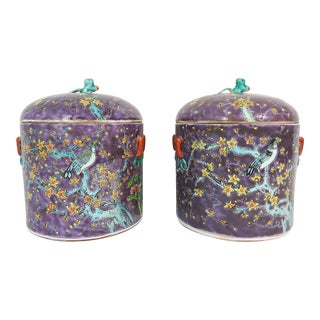 Vintage Chinese Export Purple 'Spring' Ginger Jars / Urns With Foo Lion Finials - a Pair For Sale