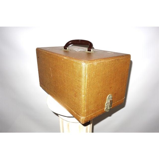 Art Deco Cinema Equipment Carry / Suit Case. Vintage. C. 1940s. Patterned Canvas Over Wood. For Sale - Image 3 of 4