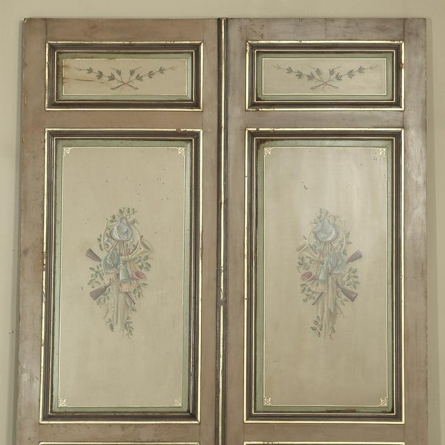 Louis XVI Pair 19th Century French Hand Painted Paneled Interior Doors For Sale - Image 3 of 13