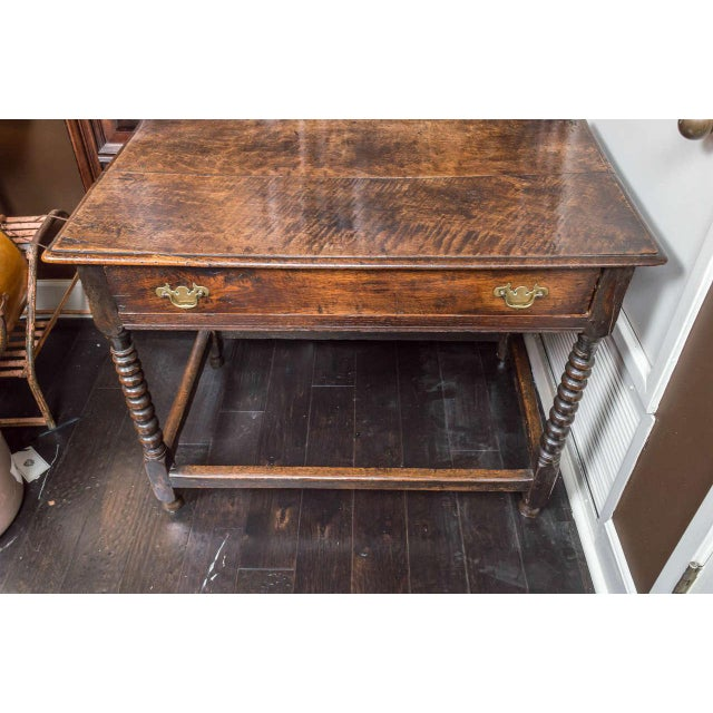 1780s English Single Drawer and Bobbin Turned Legs Oak Side Table For Sale In San Francisco - Image 6 of 9