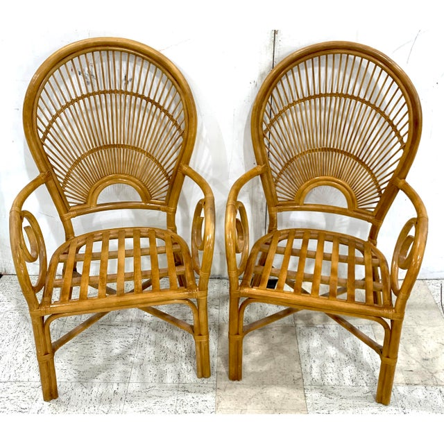 Tan 1970s Bamboo & Rattan Back 'Sunrise' Armchairs - a Pair For Sale - Image 8 of 11