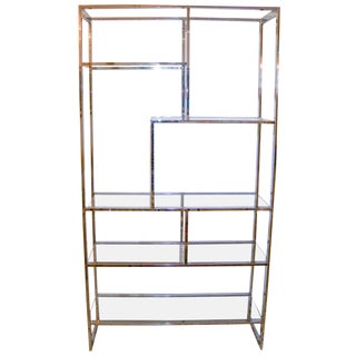 Milo Baughman Mid-Century Modern Chrome and Glass Etagere For Sale