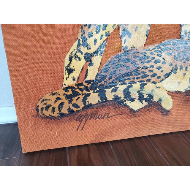 Mid-Century Modern 1970s Mid-Century Modern Roman Cheetah Oil Painting on Burlap Canvas by Wyman For Sale - Image 3 of 13