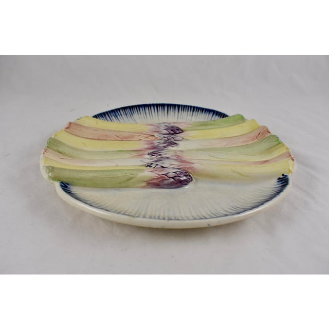 Pink Pexonne French Faïence Majolica Hand-Painted Asparagus Plate For Sale - Image 8 of 11