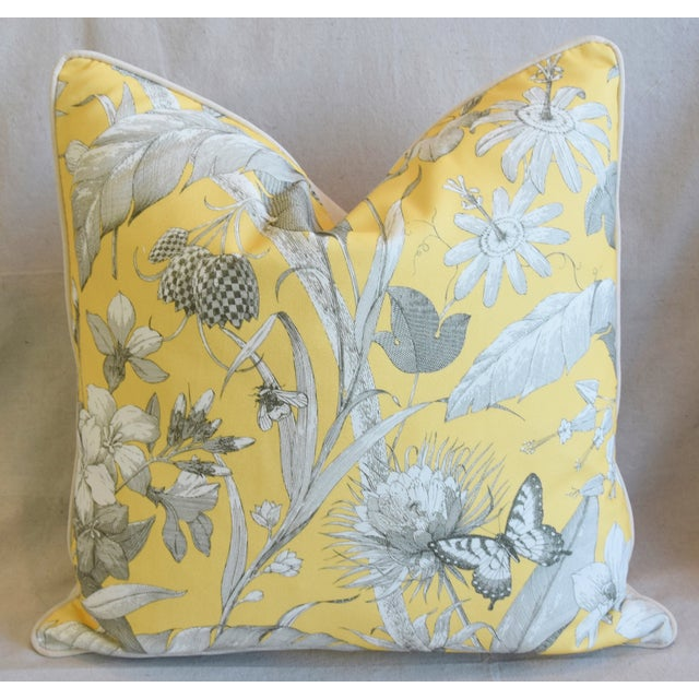 "Designer English Floral & Nature Linen/Velvet Feather & Down Pillows 24"" Square - Pair For Sale In Los Angeles - Image 6 of 13"