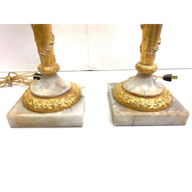 Metal 1950s Vintage French Empire Gold Dore Marble Table Lamps- a Pair For Sale - Image 7 of 11