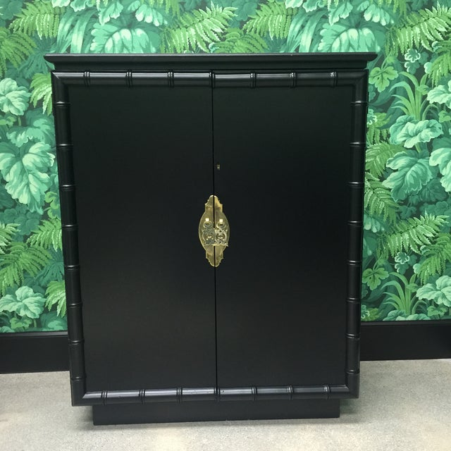 Gold Faux Bamboo Bar Cabinet For Sale - Image 8 of 8