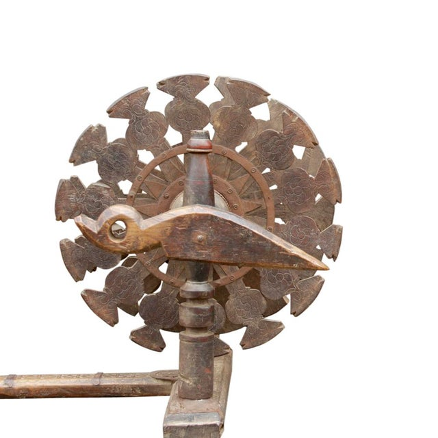 Mid 20th Century Charkha Carved Spinning Wheel For Sale - Image 5 of 7