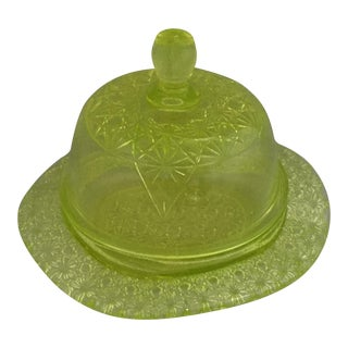 1990s Green Embossed Vaseline Butter Dish For Sale