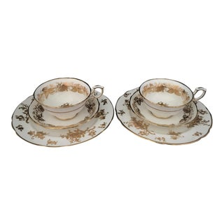 1930s Hammersley Rose Point White & Gold Bone China Teacup Trio Sets - Set for 2 For Sale