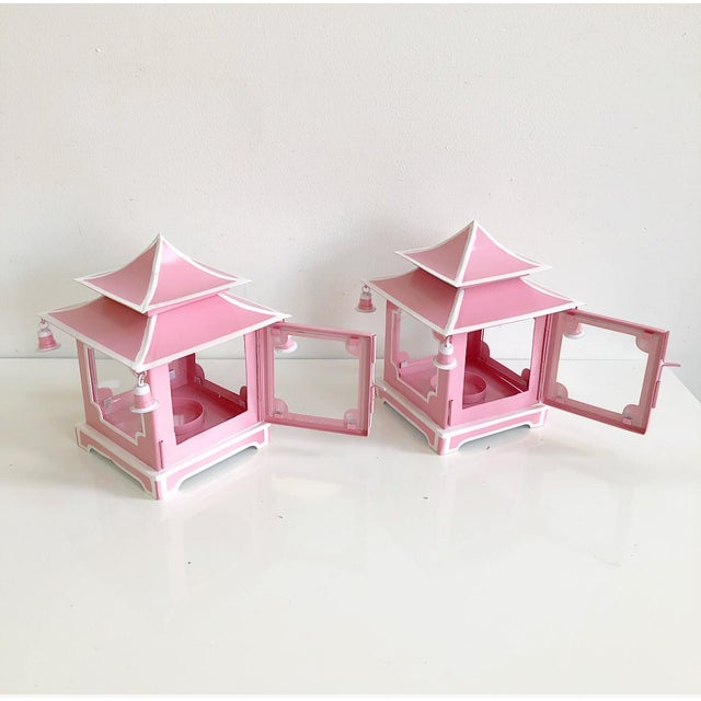 Pair of Pink Pagoda Candle Lanterns With White Stripe Detail With Bells For Sale - Image 4 of 13