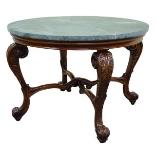 French Louis XV Style Carved Mahogany and Green Marble-Top Round Center Table For Sale