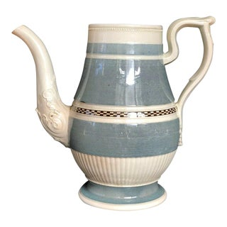 1790 -1800 English Mochaware Pearlware Blue Checker Band Engine-Turned Coffee Pot For Sale