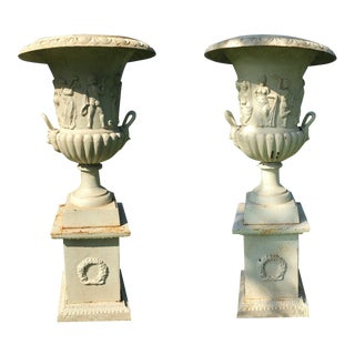Cast Iron Greek Revival Garden Estate Urns - a Pair For Sale