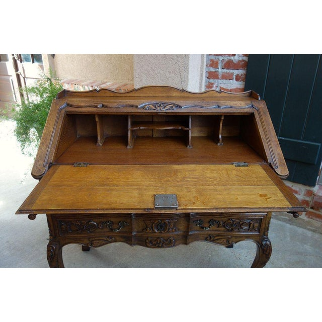French Antique French Carved Dark Oak Secretary Desk For Sale - Image 3 of  11 - Antique French Carved Dark Oak Secretary Desk Chairish