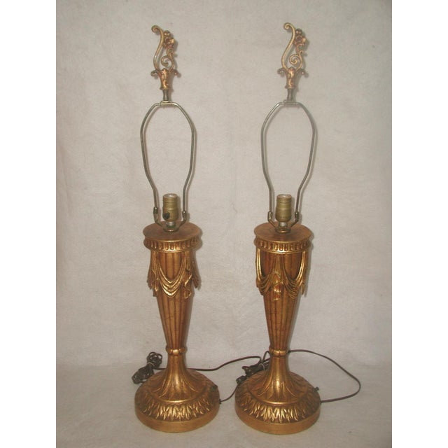 20th Century Rewired Italian Gilt Swag Lamps - 2 - Image 2 of 10
